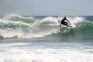 Surfing El Estero in Playa Avellanas. Pay attention to the shallow reef at this spot!