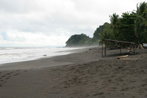 The dark beach at Backyards, Playa Hermosa, in the rainy season.