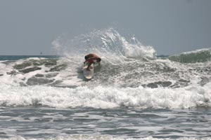 Surfing the beachbreak of Esterillos Centro.