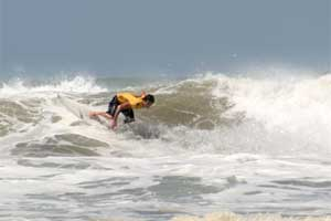 Surfing at Playa El Carmen.