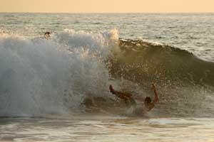Wiping out at Playa Grande.