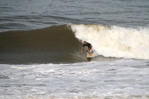 Surfing Playa Hermosa in the rainy season.
