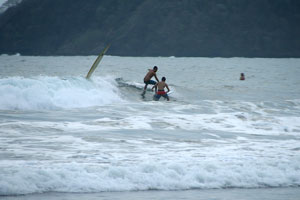 It can get crowded in the water in Jaco, but there are a lot of peaks.
