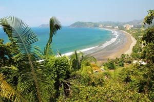 View of the beautiful bay of Jaco Beach.