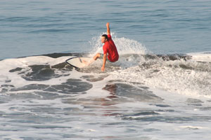 Surfing small waves at Terrazas.